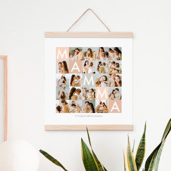 Stampa Poster Collage Mamma Poster 30x30 con astine in legno ciaoalt